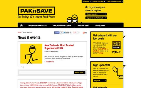 Screenshot of Press Page paknsave.co.nz - News & events   PAK'nSAVE - captured Sept. 23, 2014