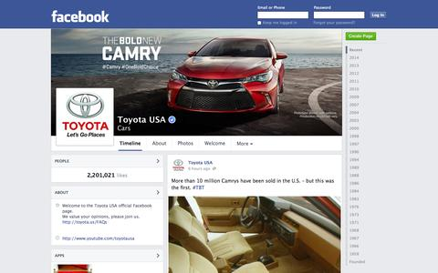 Screenshot of Facebook Page facebook.com - Toyota USA | Facebook - captured Oct. 24, 2014