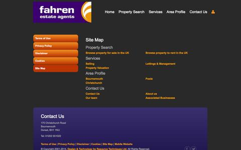 Screenshot of Site Map Page fahren.co.uk - Fahren Estate Agents in Bournemouth | Property for Sale and Rent - captured Nov. 3, 2014