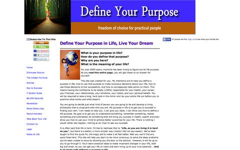 Screenshot of Home Page define-your-purpose-in-life.com - Purpose in Life - captured Sept. 11, 2015