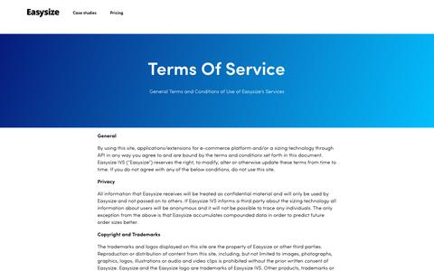 Screenshot of Terms Page easysize.me - Terms of service | Easysize - captured April 15, 2019
