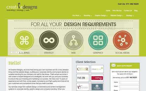 Screenshot of Home Page creative-designs.co.za - South African Website & Graphic Design | Creative Designs - captured Oct. 3, 2014