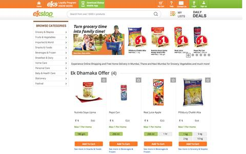 Screenshot of Home Page ekstop.com - Online Shopping in Mumbai, Online Grocery, Grocery, Stationery, Electricals, Baby Food, Online Discount Shopping, Mumbai, Ekstop.com - captured Sept. 18, 2014
