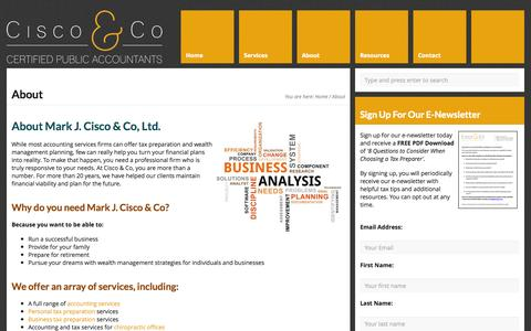 Screenshot of About Page ciscocpa.com - Cisco & Co: New Bremen, OH Wealth Management Services - captured Oct. 27, 2014