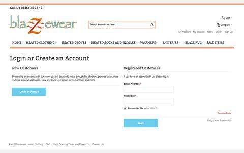Screenshot of Login Page blazewear.com - Customer Login | blazewear UK - captured Sept. 30, 2014
