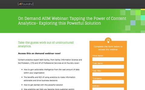 Screenshot of Landing Page aifoundry.com - On Demand AIIM Webinar Data Analytics - captured May 19, 2017