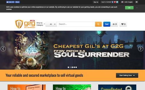 Screenshot of Home Page g2g.com - G2G Games Marketplace   Gaming Virtual Goods Marketplace & Trading Platform - captured Nov. 19, 2016