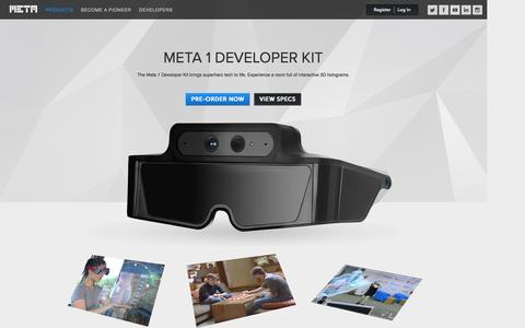 Screenshot of Products Page spaceglasses.com - Products : Meta Company - captured Nov. 3, 2014