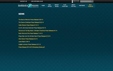 Screenshot of Press Page bbmannpah.com - Barbara B. Mann Performing Arts Hall - captured Oct. 5, 2014