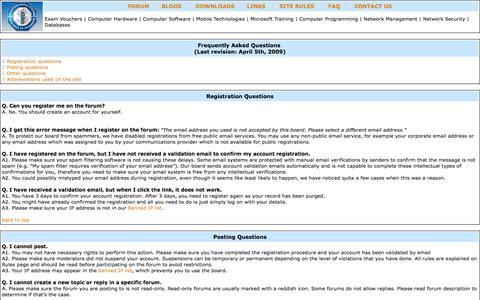 Screenshot of FAQ Page sadikhov.com - IT Certification Forum on Sadikhov.com, Certification Exams, MCITP, MCTS, CCNA, CCNP, CCIE - captured Sept. 22, 2014