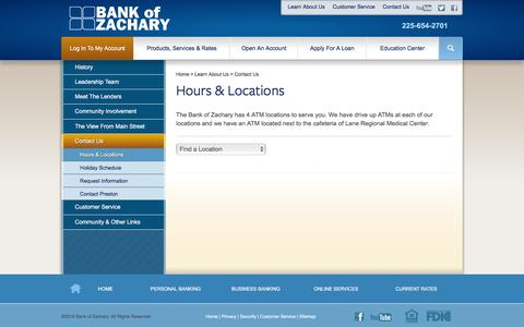 Screenshot of Locations Page bankofzachary.com - Hours & Locations - Bank of Zachary - captured June 24, 2016