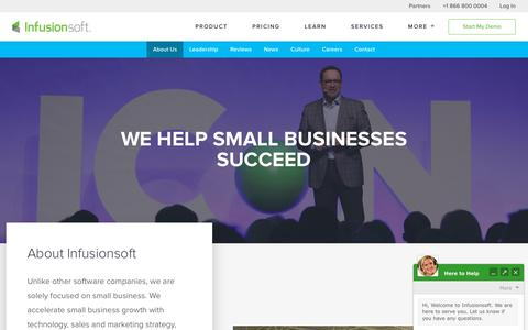 Screenshot of About Page infusionsoft.com - We Help Small Businesses Succeed | About Infusionsoft - captured Dec. 17, 2017