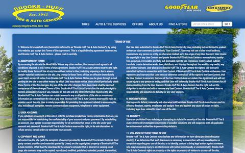 Screenshot of Terms Page brookshuff.com - Terms of Use and Conditions | Brooks-Huff Tire & Auto Centers - captured Oct. 5, 2014