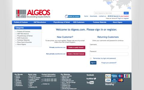 Screenshot of Login Page algeos.com - Welcome to Algeos.com. Please sign in or register. - captured Oct. 3, 2014