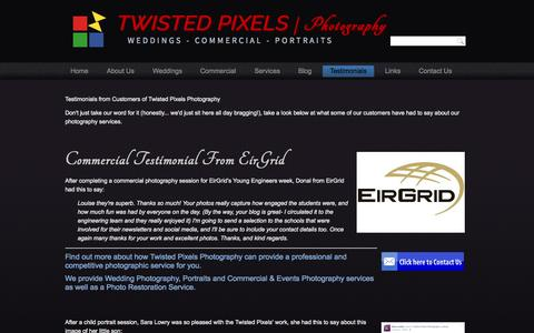 Screenshot of Testimonials Page twistedpixelsphotography.com - Twisted Pixels | Photography - Testimonials - captured Aug. 4, 2015