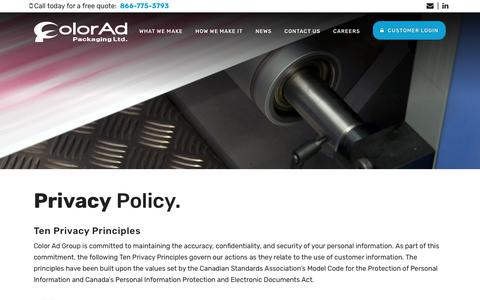 Screenshot of Privacy Page colorad.ca - Privacy Policy | Color Ad Packaging Ltd. - captured Sept. 28, 2018