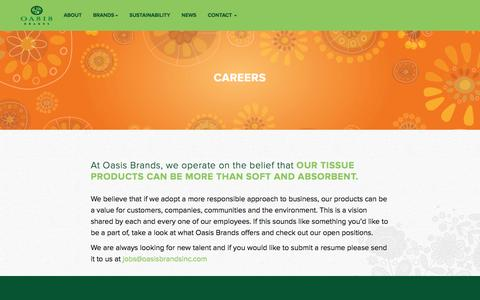Screenshot of Jobs Page oasisbrands.com - Oasis Brands - captured Oct. 7, 2014