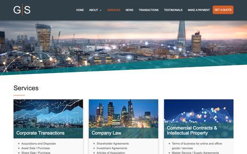 Screenshot of Services Page greenawayscott.com - Services | Greenaway Scott - captured Nov. 5, 2018