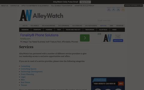 Screenshot of Services Page alleywatch.com - Services - AlleyWatch - captured Sept. 13, 2014