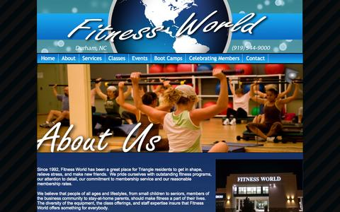 Screenshot of About Page Hours Page fitnessworldnc.com - Fitness World - About Us - captured Oct. 6, 2014