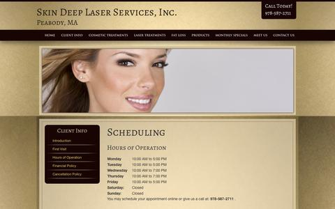 Screenshot of Hours Page skindeep-ma.com - Client Scheduling, Skin Deep Laser Services, Inc. Peabody MA, Boston - captured Oct. 4, 2014