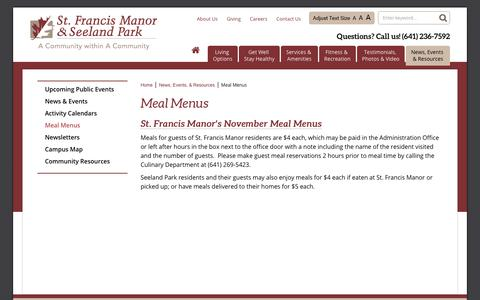 Screenshot of Menu Page stfrancismanor.com - Meal Menus | St. Francis Manor - captured Nov. 2, 2017