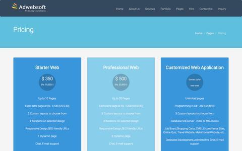 Screenshot of Pricing Page adwebsoft.com - Pricing   Adwebsoft - captured Dec. 24, 2015