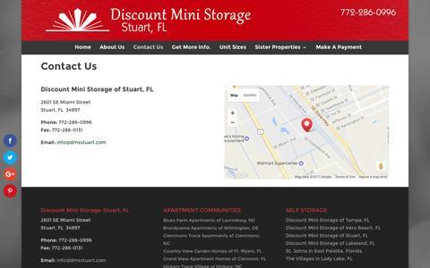 Screenshot of Contact Page dmsstuart.com - Secure Storage in Stuart Florida   Discount Mini Storage Units - captured Jan. 3, 2017