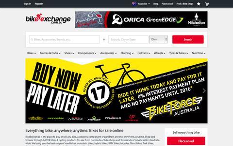 Screenshot of Home Page bikeexchange.com.au - Bikes for Sale   Bike and Cycling Shops - BikeExchange.com.au - captured Sept. 25, 2014
