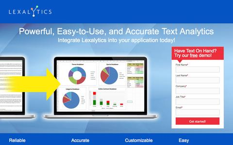 Screenshot of Landing Page lexalytics.com - Lexalytics - captured Oct. 28, 2014
