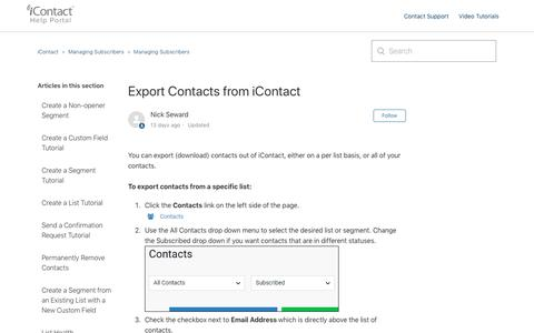 Screenshot of Support Page icontact.com - Export Contacts from iContact – iContact - captured July 1, 2019