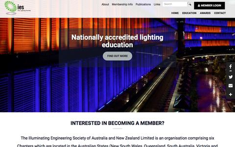 Screenshot of Home Page iesanz.org - Home | The Illuminating Engineering Society of Australia and New Zealand Limited - captured July 10, 2017