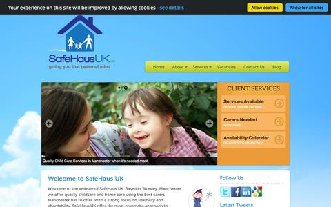 Screenshot of Home Page safehaus-uk.co.uk - Emergency Child Care Manchester | Babysitters, Nannies, After School Child Care, Respite Care - captured Oct. 4, 2014