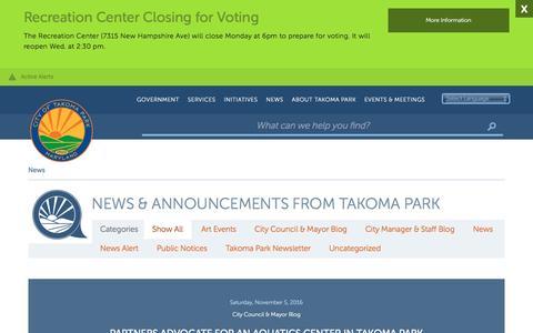 Screenshot of Press Page takomaparkmd.gov - News   City of Takoma Park - captured Nov. 6, 2016