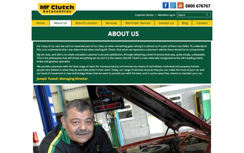 Screenshot of About Page mrclutch.com - About Mr Clutch Autocentres - captured Jan. 18, 2016