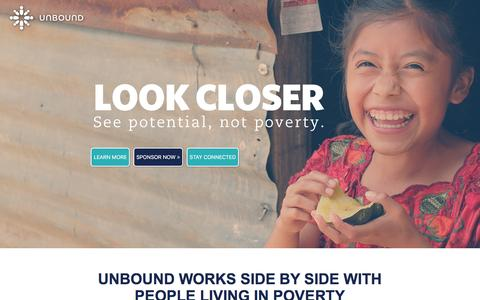 Screenshot of Landing Page unbound.org - Sponsor A Child Through Top-Rated Charity Unbound - captured April 14, 2016