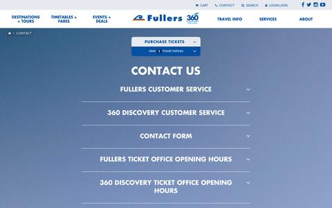 Screenshot of Contact Page fullers.co.nz - Contact - captured Feb. 20, 2016