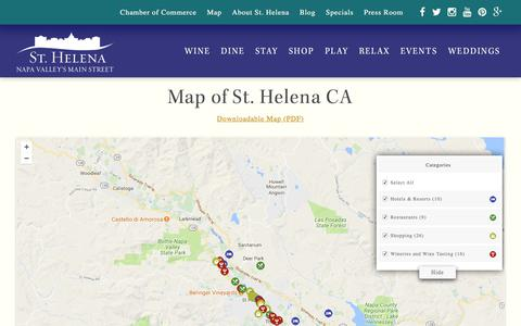 Screenshot of Maps & Directions Page sthelena.com - Map of St. Helena Wineries, Hotels, Restaurants, Shopping and More - captured June 21, 2017