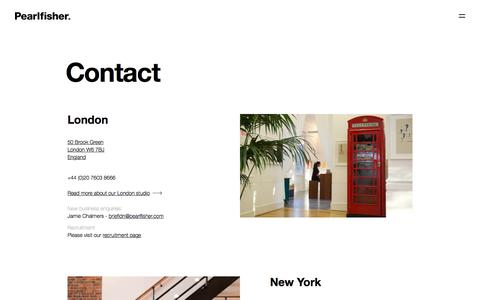 Screenshot of Contact Page pearlfisher.com - Contact Us - Pearlfisher Branding & Design Agency - captured Nov. 9, 2019