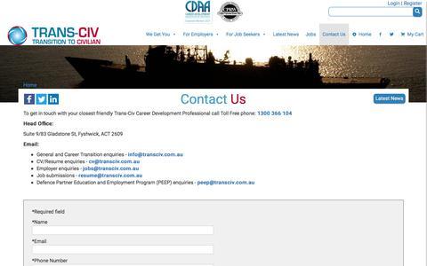 Screenshot of Contact Page transciv.com.au - Trans-Civ – Defence transition, ADF CV/Resume, jobs, Defence Partners - captured June 19, 2017