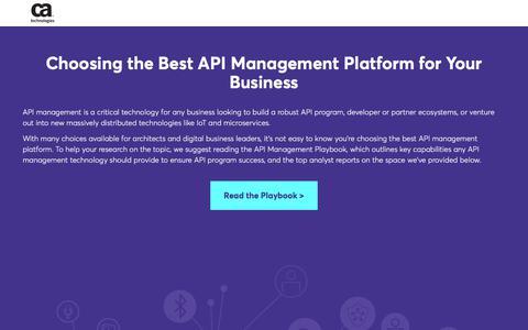 Screenshot of Landing Page ca.com - How to Choose the Best API Management Platform | CA Technologies - captured Oct. 23, 2017