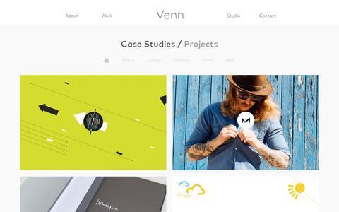 Screenshot of Case Studies Page venncreative.co.uk - Work – Venn Creative - captured Jan. 2, 2017