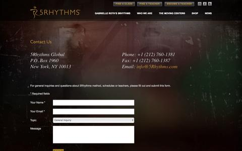 Screenshot of Contact Page 5rhythms.com - 5Rhythms | Contact Us - captured Oct. 27, 2014