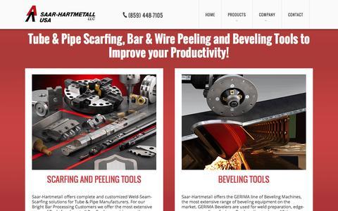 Screenshot of Home Page shmusa.com - Saar-Hartmetall - Beveling Tools and Scarfing Tools - captured Sept. 17, 2015