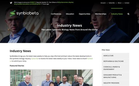 Screenshot of Press Page synbiobeta.com - Industry News - SynBioBeta - captured Aug. 16, 2016