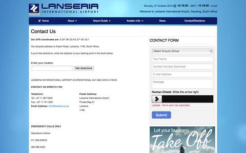 Screenshot of Contact Page lanseria.co.za - Lanseria Airport   Contact Us - captured Oct. 27, 2014