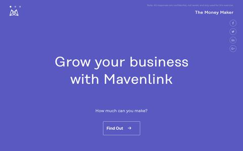 Screenshot of Landing Page mavenlink.com - Gain Calculator | Mavenlink Money Maker - captured April 19, 2019