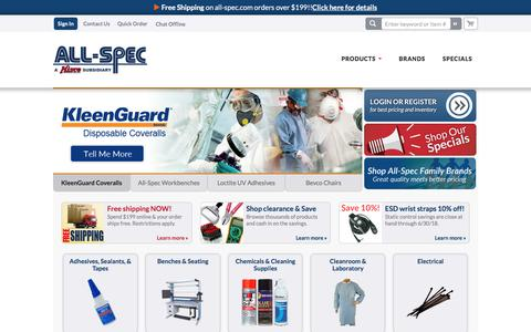 Screenshot of Home Page all-spec.com - All-Spec   Products for Electronic Production, Service, Repair & Testing - captured May 21, 2018