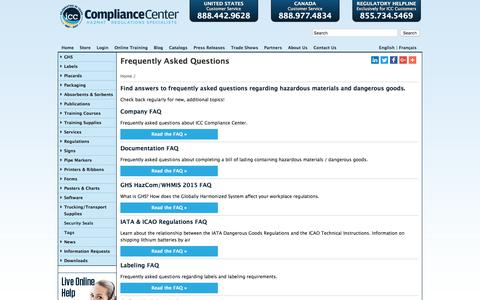 Screenshot of FAQ Page thecompliancecenter.com - FAQs | ICC - captured Jan. 30, 2018