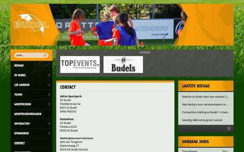 Screenshot of Contact Page svbudel.nl - Contact - Budel - captured Aug. 2, 2015